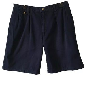 Nautica Rigger Chino Shorts Pleated Front Navy